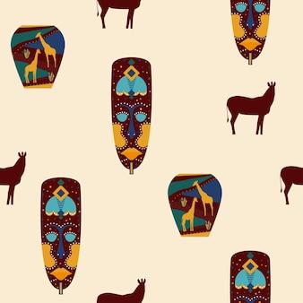 エスニックアフリカマスクシームレスパターン。アフリカの伝統的な部族のシンボル。