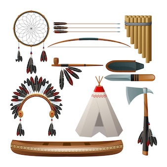 Ethnic american indigenous tribal culture decorative set