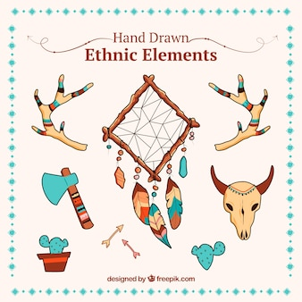 Ethnic assortment of hand-drawn objects