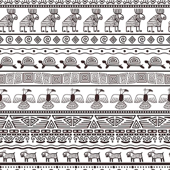 Ethnic aztecs or peruvian pattern template. vector tribal black borders fabric with mexican indian