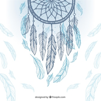 Ethnic background with dreamcatcher and feathers