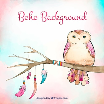 Ethnic background with watercolor owl