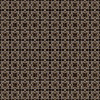 Ethnic batik geometric flowers seamless pattern background in classic gold vintage style