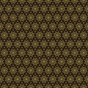 클래식 골드 빈티지 스타일의 민족 바틱 기하학적 꽃 원활한 패턴 배경