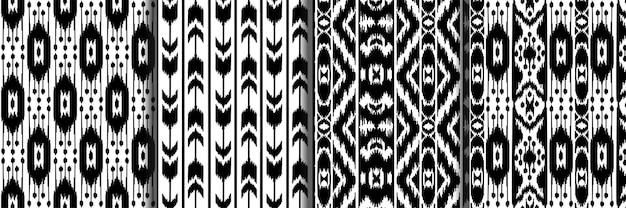 エスニックな黒と白のシームレスなパターンセット