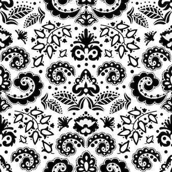エスニックブラックオリエンタルタタール飾り落書き民俗シームレスパターンベクトルイラストプリント生地とデジタルペーパー