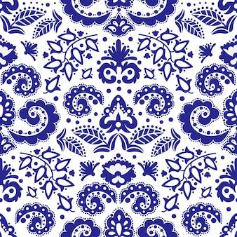 Ethnic blue tatar ornament seamless pattern