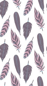Ethnic boho feathers seamless pattern.
