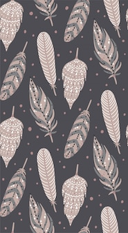 Ethnic boho feathers seamless pattern..