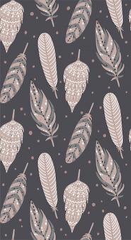 Ethnic boho feathers seamless pattern..