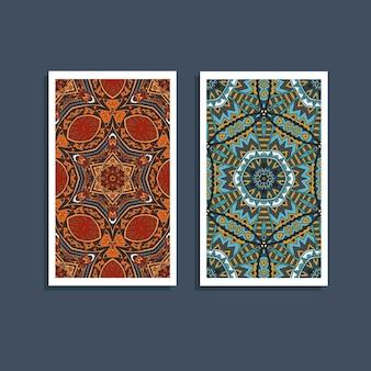 민족 boho 패턴 카드입니다. 부족 예술 인쇄. 다채로운 테두리 배경 텍스처입니다. 패브릭, 천 디자인, 벽지, 포장