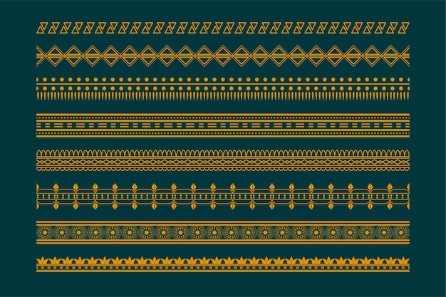 Ethnic boho style borders pattern set