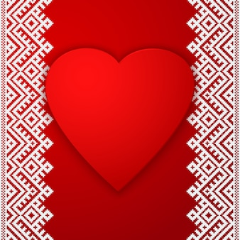 Ethnic border and big red heart