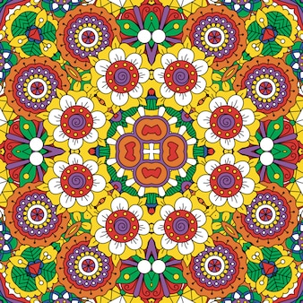 Ethnic bright mandala style flowers pattern