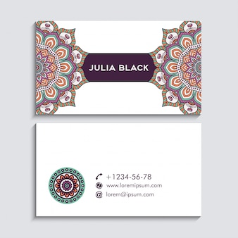 Ethnic business card with mandala concept