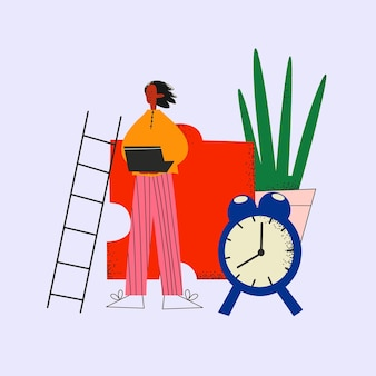 Этнический деловой человек на фоне мозаики растений