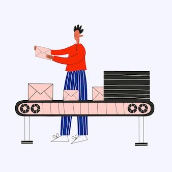 Ethnic business man receives a postal envelope on a conveyor belt
