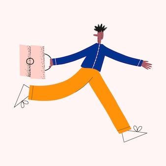 Этнический деловой человек бежит на работу