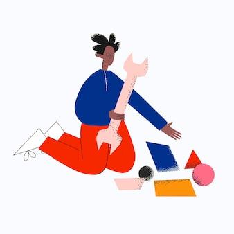 フラットキーと抽象的な幾何学的形状を持つエスニックビジネスマン