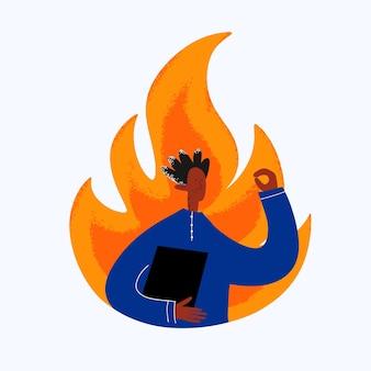 エスニックビジネスマンは炎の背景に仕事を心配している