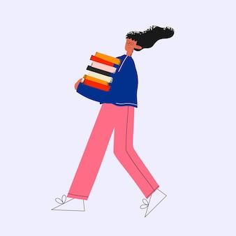 エスニックビジネスの女性は、ドキュメントと本とフォルダのスタックを運びます