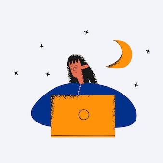 민족적인 비즈니스 여성은 밤에 노트북에서 잠이 들었다