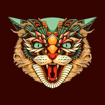 Ethnic cat head illustration