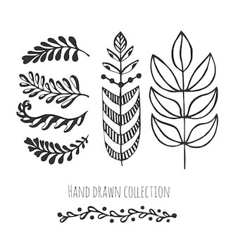 Ethnic collection with stylized doodle leaves