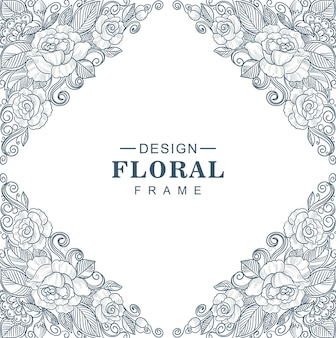 エスニックな装飾花柄フレームデザイン