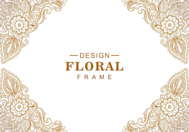 Ethnic decorative golden floral background