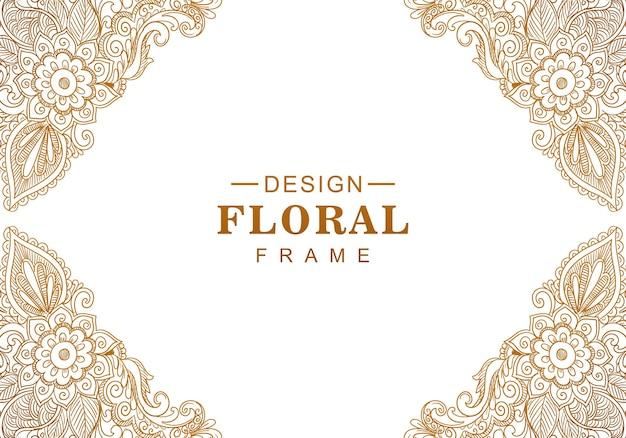 Fondo floreale dorato decorativo etnico