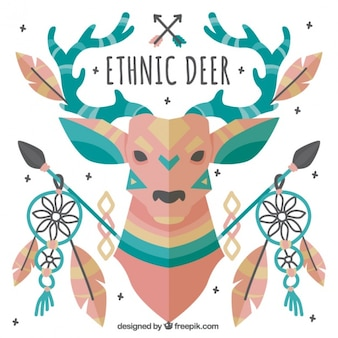 Ethnic deer in flat design with decorative elements