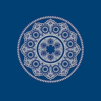 Ethnic delicate white mandala - round ornament pattern