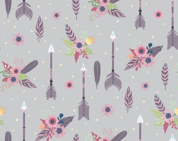 Ethnic feathers,arrows and flowers seamless pattern. bohemian style. vector illustration.