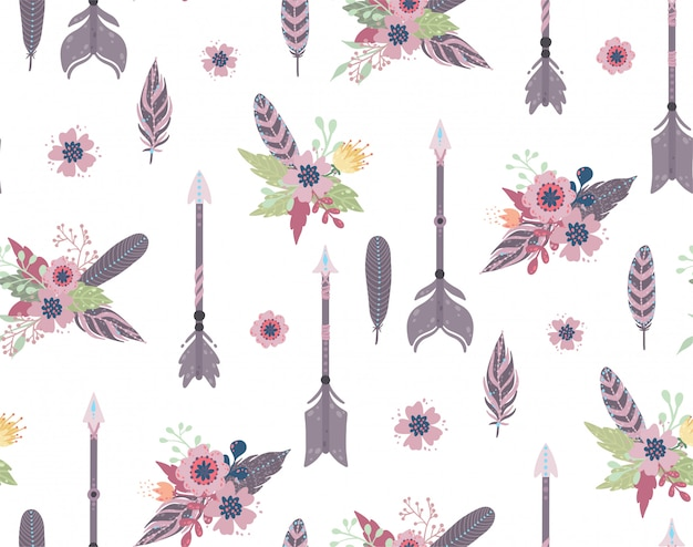 Ethnic feathers,arrows and flowers seamless pattern.