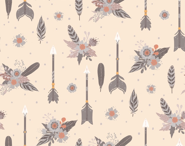 Ethnic feathers, arrows and flowers seamless pattern.