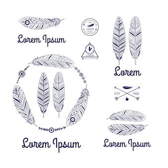 Ethnic feathers logo vector set with arrows