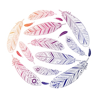 Ethnic feathers round colored emblem