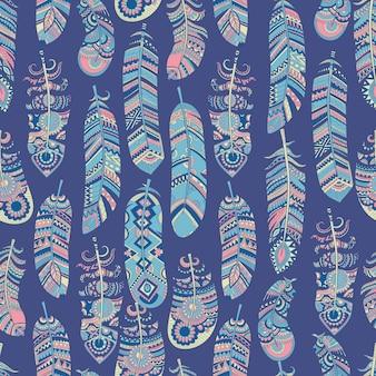 民族の羽のシームレスなパターン。部族の背景ヒッピーインドの文化的要素