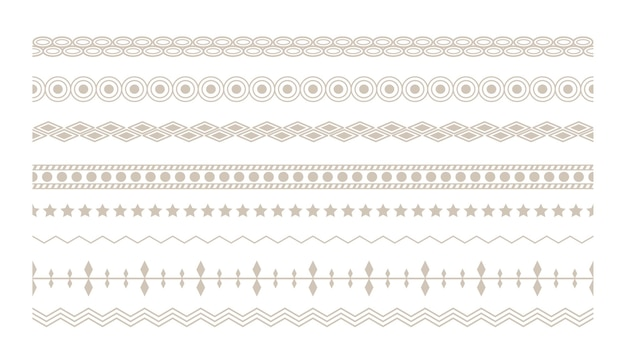 Ethnic floral boho borders set design