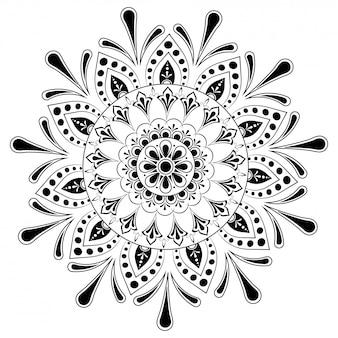 Этнические цветочные мандала шаблон дизайна.