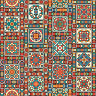 Ethnic floral seamless pattern with vintage mandala elements.