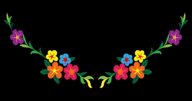 Ethnic flowers doodles neck line embroidery