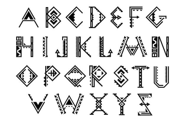 エスニックフォント。ネイティブアメリカンのインドのアルファベット