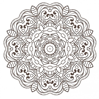 Ethnic fractal mandala  meditation looks like snowflake or maya aztec.