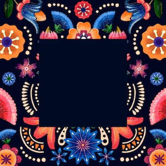 メキシコの花柄のエスニックフレームイラスト