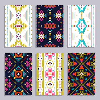 Ethnic geometric banner set