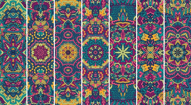 Ethnic geometric pattern bookmark boho print.