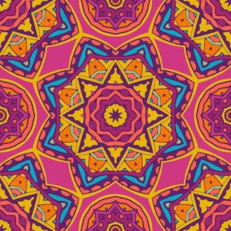 エスニック幾何学シームレスヴィンテージメダリオンマンダラ装飾パターン