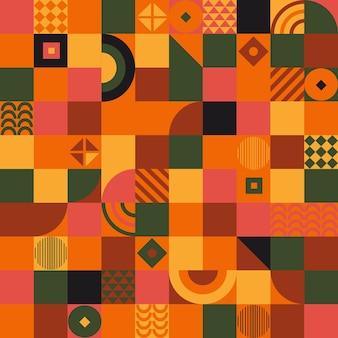 민족 기하학적 모양이 매끄러운 패턴, 정사각형 삼각형 및 둥근 모양이 있는 바우하우스 디자인 배경. 현대 배너, 전단지, 초대장, 축 하, 포스터에 대 한 템플릿입니다. 벡터 일러스트 레이 션.